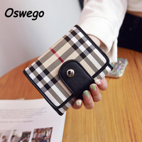 Casual Noble Plaid Women PU Leather Short Wallet Classic England Lattice Ladies Hasp Mini Purse Card