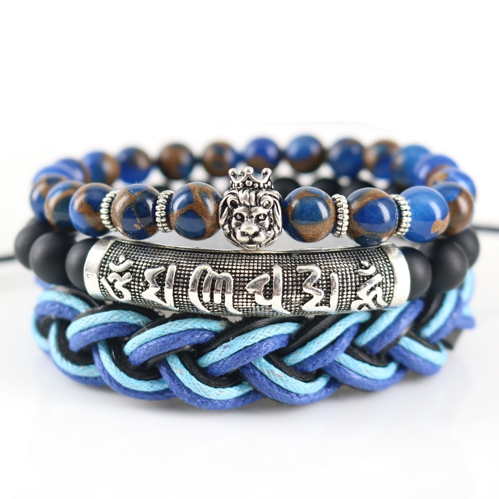 Mala Proverbs Beaded Tube Matte Onyx Blue Golden Sand Stones Authentic  Leather Lion Charm Bracelets For Men Cool Street Jewelry
