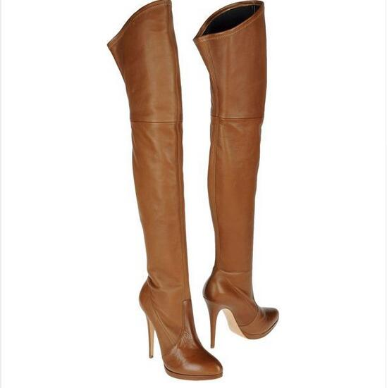 2018 Winter Nice High Quality Boots Over the Knee Sexy Trendy Solid Slip-On Thin Heel Shoes Women Fashion Thigh High Boots sexy solid color flounce splice short sleeve over hip women s trendy club dress