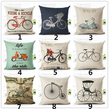 Vintage bicicleta Lino cuadrado fundas decorativas para cojín cama funda de almohada hogar
