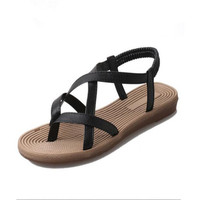 2017 New Fashion Summer Pu Cross Sandals Soft Comfy Women S Flat With Beads For Women