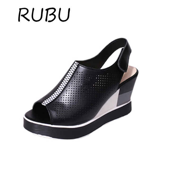 10bc31f32b1 Women Wedge Sandals Peep Toe High Heels Shoes Women Hollow Black White  Summer Sandals Platform Footwear Flip Soft Leather Mule