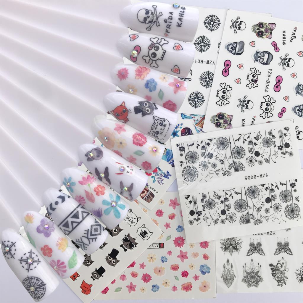 10 Sheet Optional Water Decals Nail Sticker Flower Cartoon Skull Cat Image Nail Art Decals Nail Art Transfer Sticker Water Slide