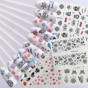 цена на 10 Sheet Optional Water Decals Nail Sticker Flower Cartoon Skull Cat Image Nail Art Decals Nail Art Transfer Sticker Water Slide