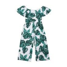 Летняя одежда с открытыми плечами для маленьких девочек, Детский комбинезон с цветочным принтом и зелеными листьями, комбинезоны