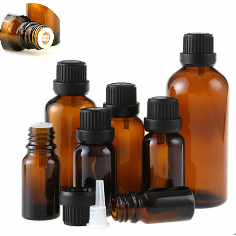 24pcs 5ml/10ml/15ml/20ml Empty Amber Brown Glass Euro Dropper Bottles Essential Oil Liquid Aromatherapy Pipette Vials Containers