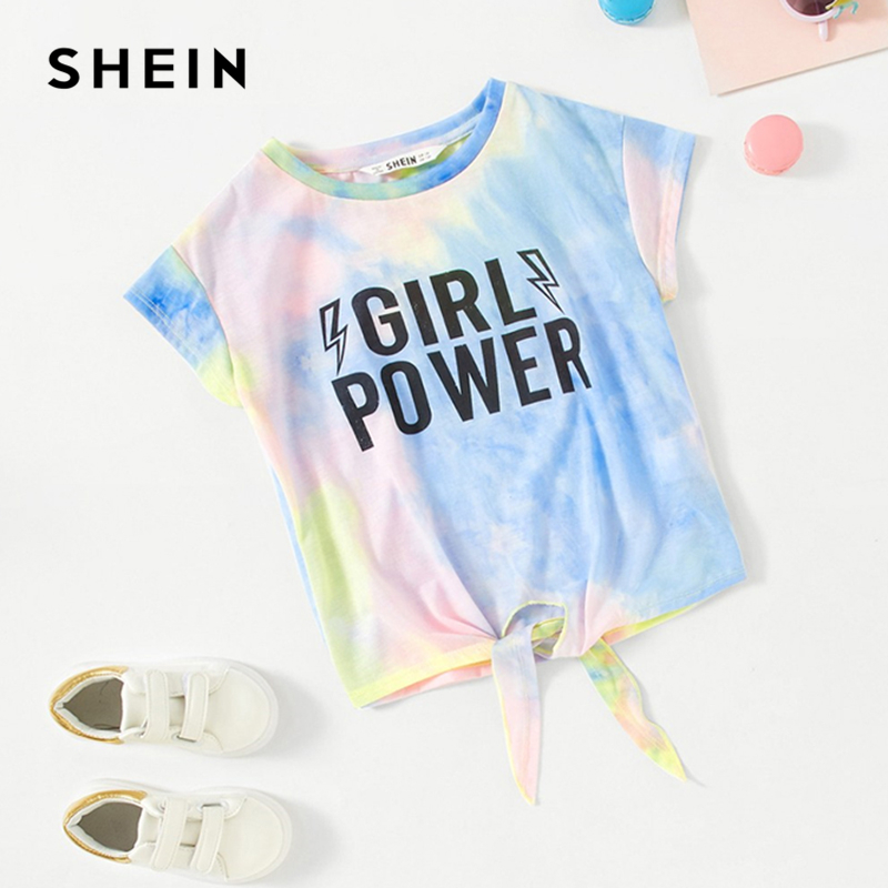 SHEIN Kiddie Tie Dye Letter Print Knot Front Casual Girls T-Shirts Children 2019 Summer Cap Sleeve Colorblock Kids Casual Tees knot front gingham top