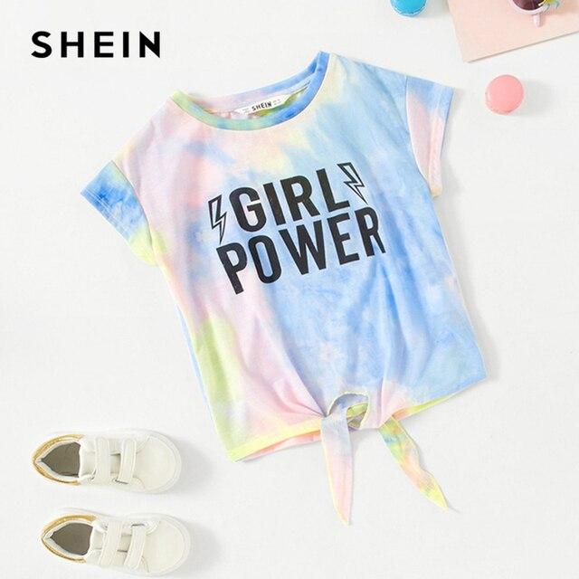 SHEIN Kiddie/повседневные футболки для девочек с принтом в виде букв и узелком Спереди детские летние повседневные футболки с короткими рукавами, коллекция 2019 года