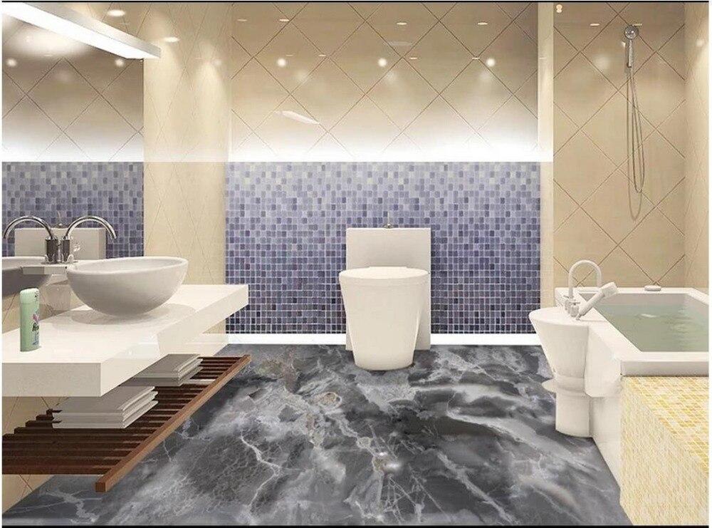 Papier peint photo 3d peinture au sol motif marbre gris salon salle de bain 3D sol auto-adhésif peinture au sol autocollants - 2
