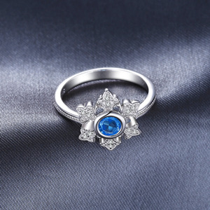 Image 3 - JewelryPalace Snowflake 0.6ct Genuine  Blue Topaz Cocktail Ring 925 Sterling Jewelry for Women Fashion Jewelry Elegant Gift