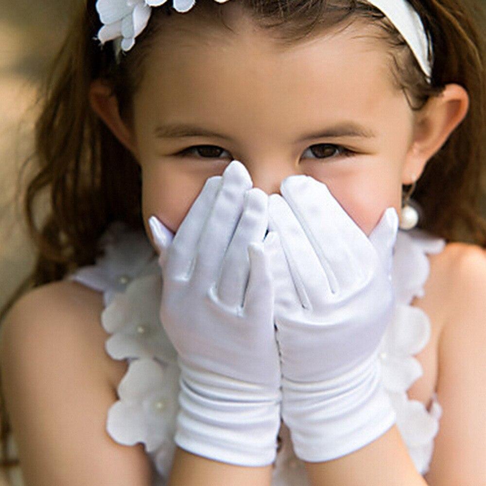 2018 Retail High Quality elengent Flower Girl gloves Satin Silk Gloves White Short Gloves 1-12T