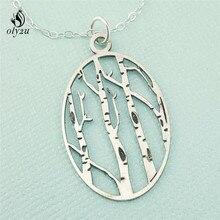 Oly2u Березовое дерево, ожерелье, лесное дерево, ювелирное изделие, для улицы, подарок, натуральный Овальный Кулон, лесное дерево, ювелирное изделие, collargos de moda