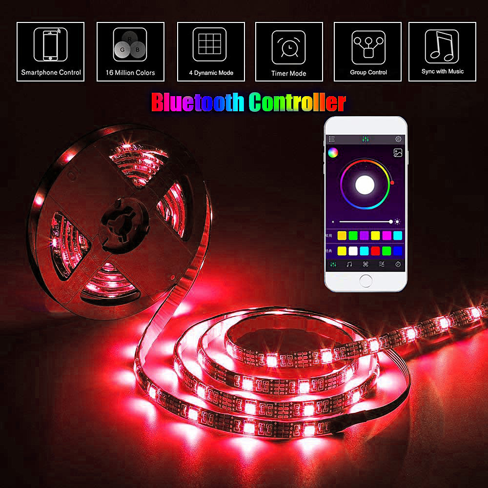 RGB LED Light Strip For PC TV Lights LED Stripe USB 5V 5050 Light Lamp Bluetooth Control Home Background Neon Diode Tape Decor