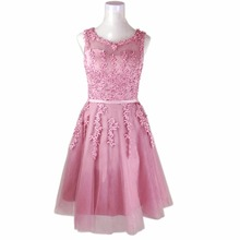 Щелевая румяна бисероплетение вечер одеяние пром вечерние роскошные халат розовый короткие