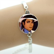 Fashion Super Star Michael Jackson Moonwalk bracelet for men women jewelry fans gifts art glass photo bracelets jewellery CT08(China)