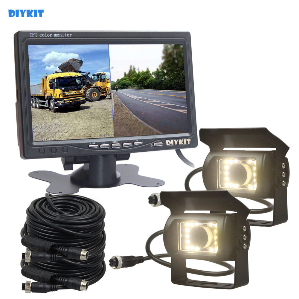 DIYKIT DC12V - 24V 7inch 2 Split LCD Screen Car Monitor LED Night Vision CCD Rear View Car Camera System for Bus Houseboat Truck купить недорого в Москве