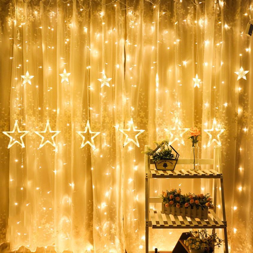 Xmas Lights And Erina Party Shop: LED Stars Christmas Hanging Curtain Lights String Net Xmas