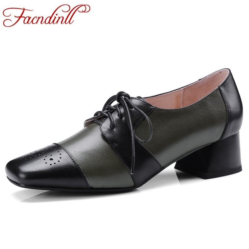 FACNDINLL new fashion spring autumn women pumps genuine leather lace up low heel shoes woman office dress party date shoes pumps europe america style spring autumn women genuine leather thin high heel lace up low cut fashion denim shoes size 34 41 sxq0709