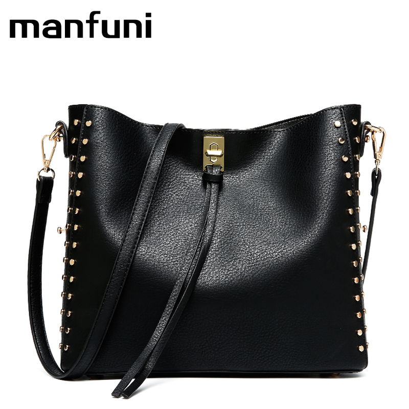 MANFUNI Leather Handbag Large Capacity Women Shoulder Bag Retro Rivet Tote Purse High Quality Casual Female Shopping Bags