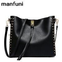 MANFUNI Leather Handbag Large Capacity Women Shoulder Bag Retro Rivet Tote Purse High Quality Casual Female Shopping Bags