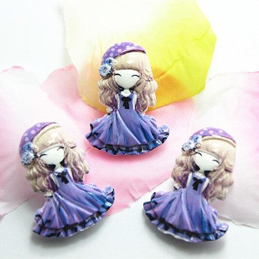 10 шт./лот очень мило смолы для девочек с фиолетовая юбка плоской задней кабошон для волос Лук Центр Скрапбукинг, 23*31 мм, RC11082h