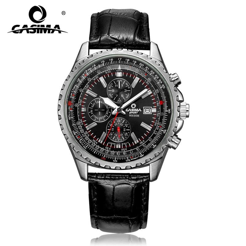 Casima luxe merk horloges mannen mode klassieke sport heren quartz horloge lederen band waterdicht 100 m # 8882