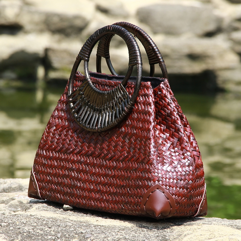 Thai version of the straw bag women's hand bag fashion retro vase vine bag travel beach bag bamboo wood handle handbag 1