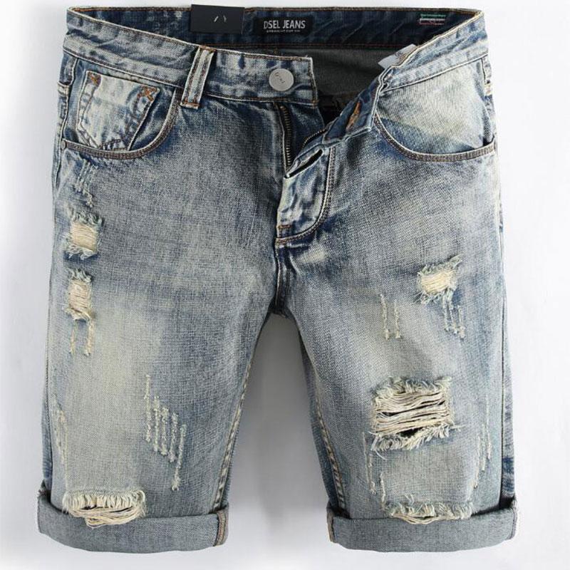 2017 New Summer Blue Color Denim Shorts Fashion Designer Short Ripped   Jeans   Men Dsel Brand Destroyed Mens   Jeans   Shorts!A1001