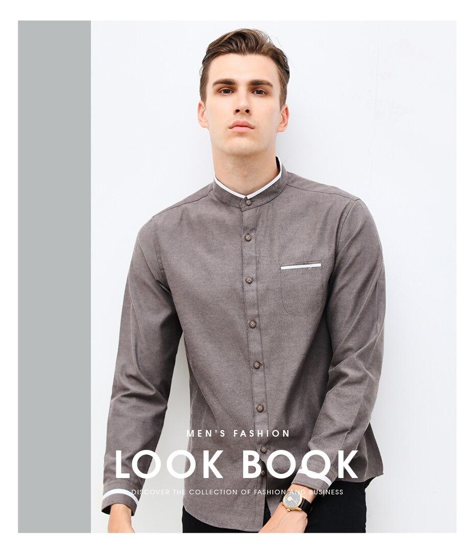 dd2a6303a586 New Fashion Casual Men Shirt Long Sleeve Mandarin Collar Slim Fit Shirt Men  Korean Business Mens Dress Shirts Men Clothes M-5XL