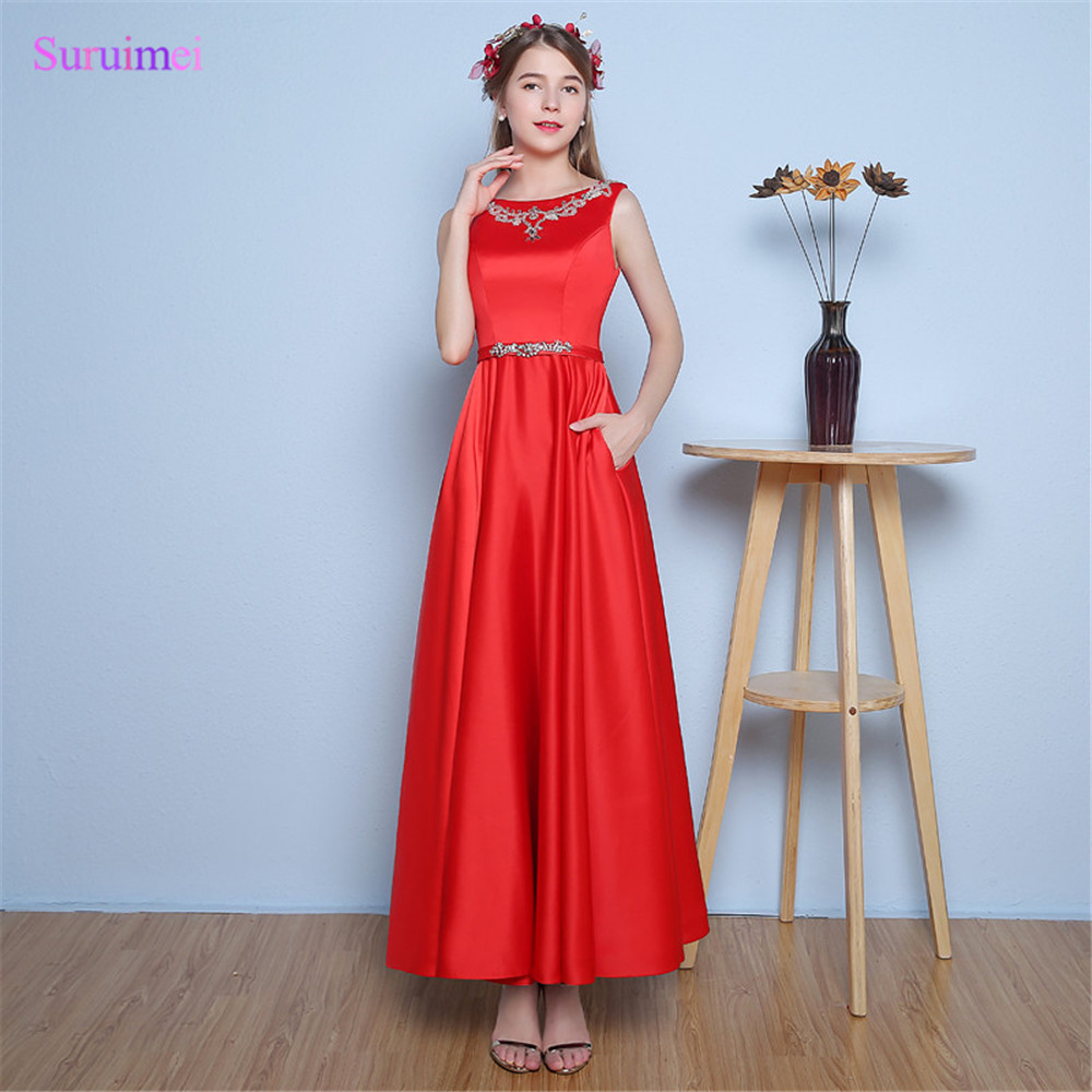 New Arrival Ankle Length Evening Dresses Side Pockets Satin with ...