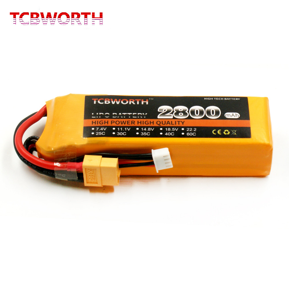 TCBWORTH RC LiPo battery 3S 11.1V 2800mAh 25C For RC Airplane Quadrotor Helicopter Li-ion battery
