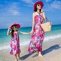 Новинка семья установить одежду для матери и дочери чешского цветок печать рукавов подтяжки макси платье
