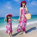 Nueva Moda de La Familia Fijó la Ropa para La Madre y La Hija de Bohemia Impresión de La Flor Sin Mangas Vestido de Tirantes Maxi