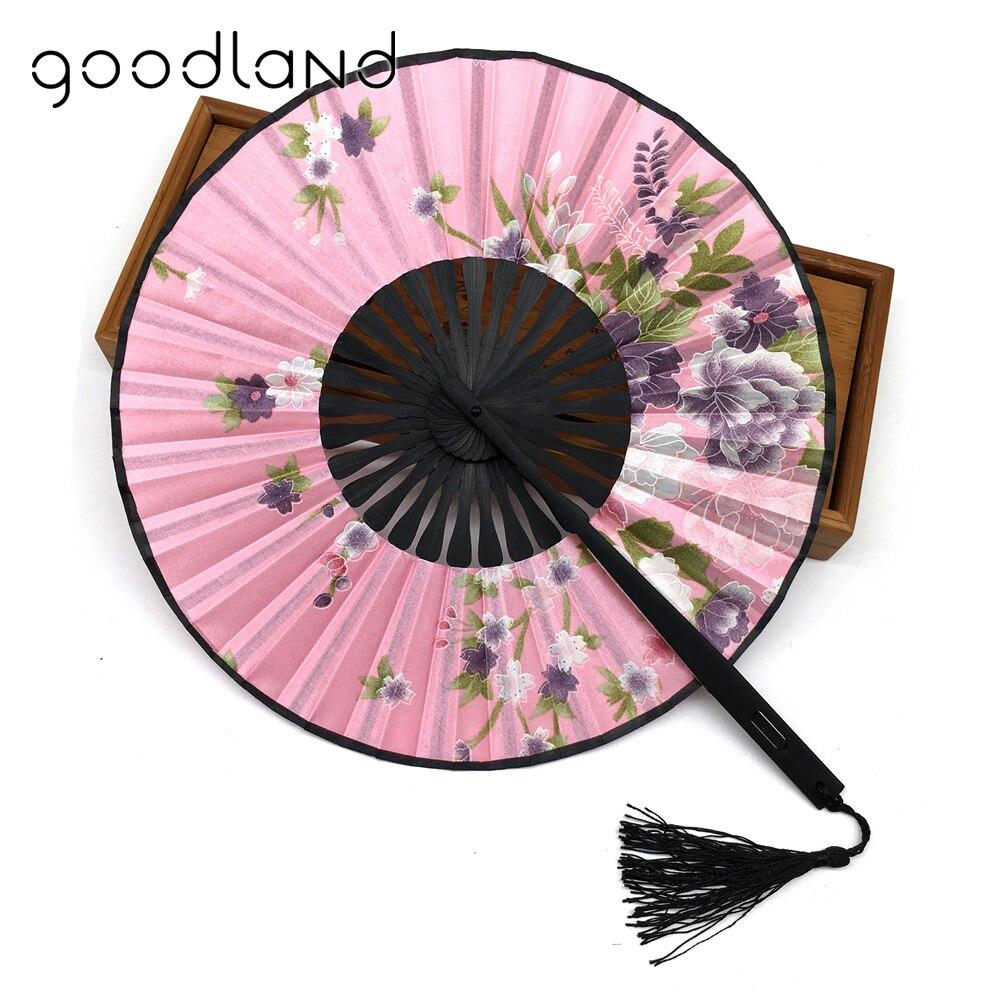 Bezmaksas piegāde 1gab. Apaļš bambusa burvīgs ziedu drukas kabatas salokāms ventilators ar pušķi un auduma maisiņu kāzas un dāvanas