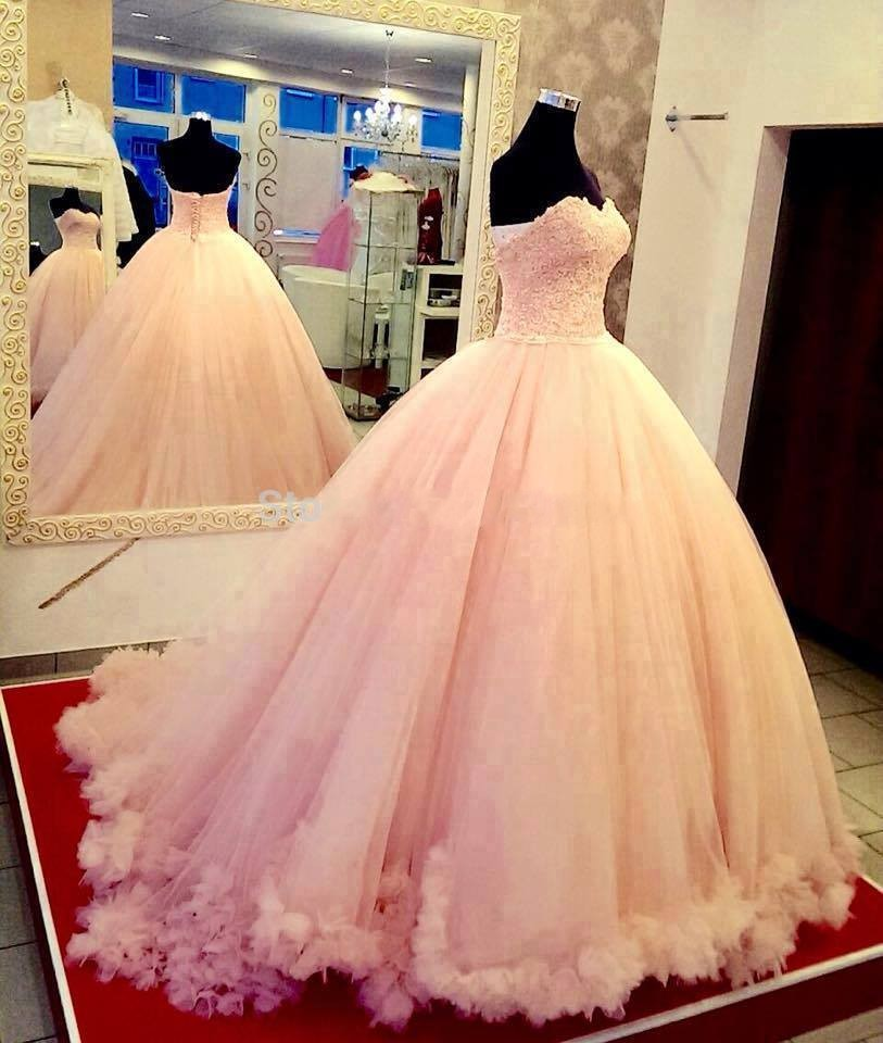 Vestido De Casamento Sweetheart Lace Appliqued Ball Gown Tulle   Prom     Dress   2018 Hot Pearl Pink Sexy Women Pageant Evening Gowns