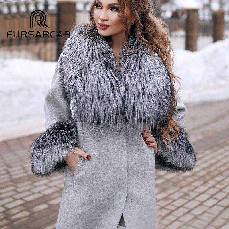 FURSARCAR Natural Real Fur Coat Women Woolen Fur Coat With Thick Fox Fur Collar 2019 New Style Woolen Skin Fur Coat Hot Sale