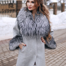 FURSARCAR Natural Real Fur Coat Women Woolen Fur Coat With T
