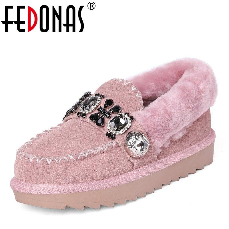 FEDONAS New Basic Pumps Slip On Autumn Winter Warm Snow Shoes Woman Rhinestone Party Club Pumps Female New Round Toe Casual Shoe