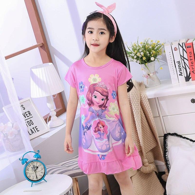 Nieuwe meisje nachthemd Baby Pyjama Katoen Prinses Nachtjapon Kids Thuis jurk Zomer Jurken grote Meisje Nachtkleding Kinderen Nachtjapon M65
