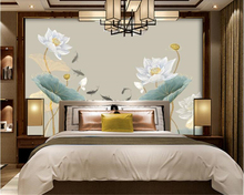 beibehang Lotus decorative painting new Chinese lotus nine fish figure wall papel de parede wallpaper hudas beauty