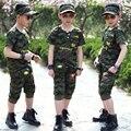 2016 новый повседневная чистого хлопка костюм детский летний мальчики камуфляж униформа униформа Спортивной мальчик Детская Одежда