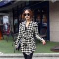 GZDL Fashion Spring Autumn Jacket Women Long Sleeve Houndstooth Print Top Casual Slim Belt Peplum Cardigan Coat Outerwear CL0271