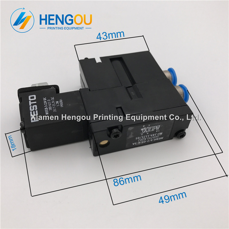 1 Piece SM52 SM74 SM102 Solenoid Valve MEBH-4/2-QS-6-SA. M2.184.1121/05 for Hengoucn Printing Press1 Piece SM52 SM74 SM102 Solenoid Valve MEBH-4/2-QS-6-SA. M2.184.1121/05 for Hengoucn Printing Press