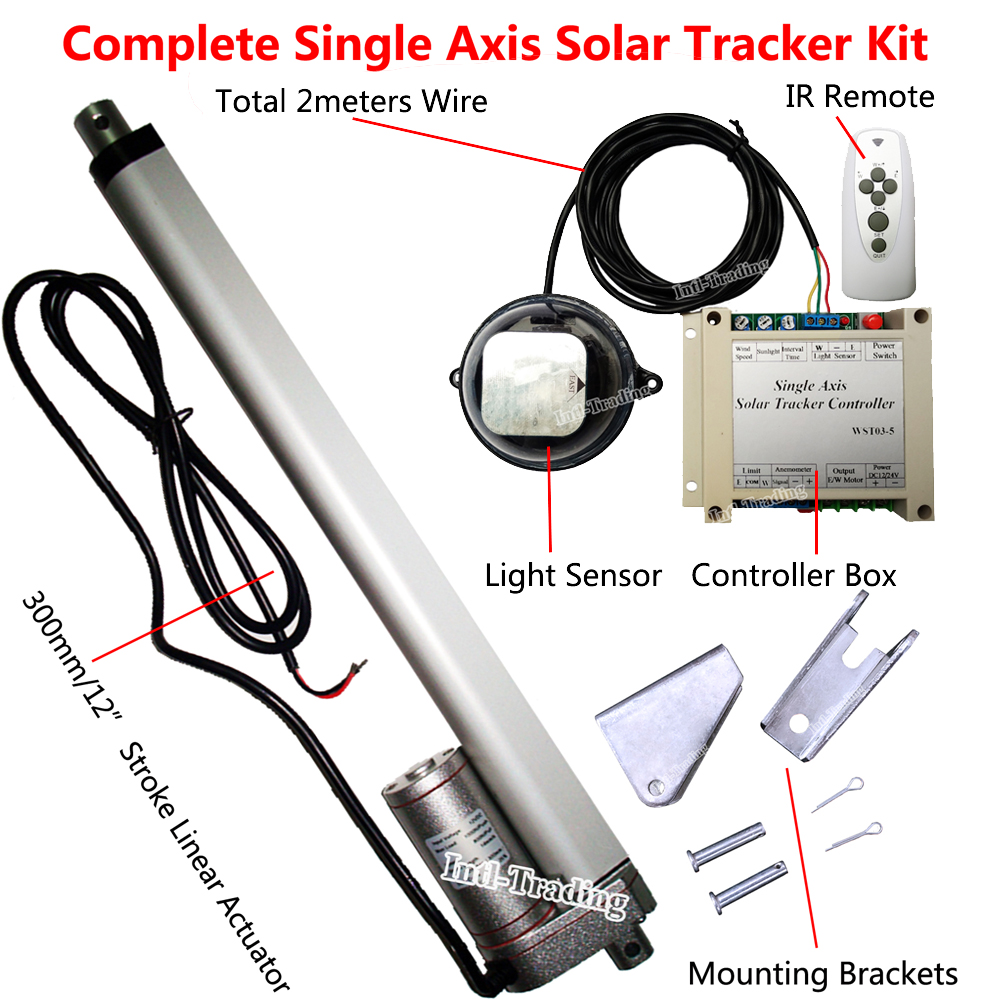 Complete Single Axis Sunlight Track Solar Tracker Sun Power Kit 12 Linear Actuator Controller for 100W