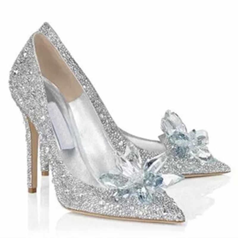 ... LOSLANDIFEN Women Crystal Covered Pointy Toe Pumps Cinderella High Heel  Rhinestone Wedding Shoes Women Bridal Pumps ... 4fd75ba0f324