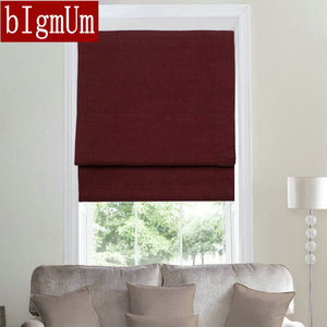 2017 New Arrivals Linen Flat Blinds Solid Curtains With Blackout Function Window Treatment Burgundy/Purple/Blue/Green Roller