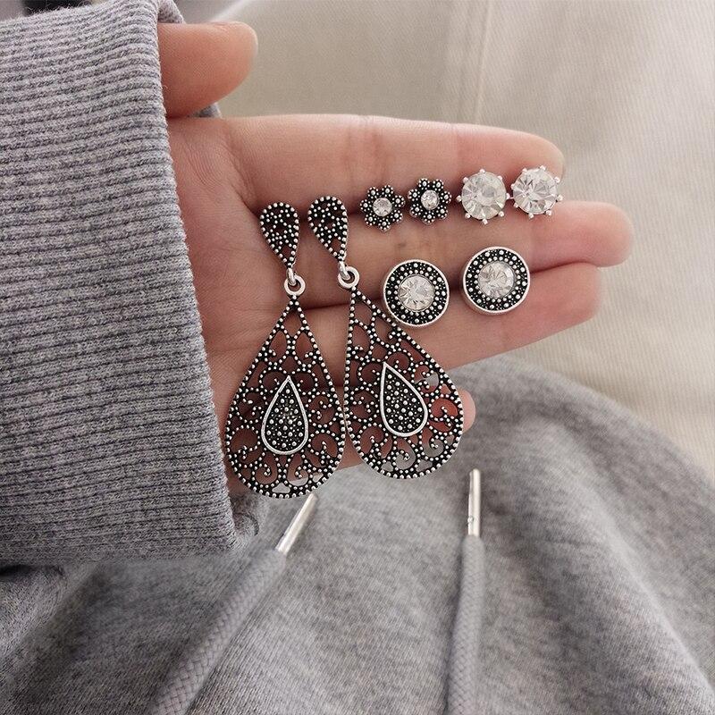 4 Pair set Bohemian Water Drop Flower Round Crystal Gem Hollow Pattern Silver Earrings Women Charm