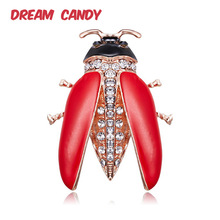 Dream Candy New Style Rhinestone Beetle Brooches for Women Red Enamel Pins Insect Brooch 2 Colors Creative Jewelry Accessories