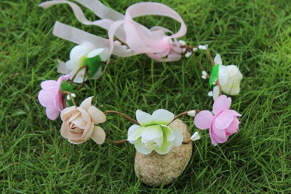 Korea handmade Wreath Artificial Wedding Hair Flower Wreath Bridal Garland Wedding Flower Girl Headpiece Childrens Wreath
