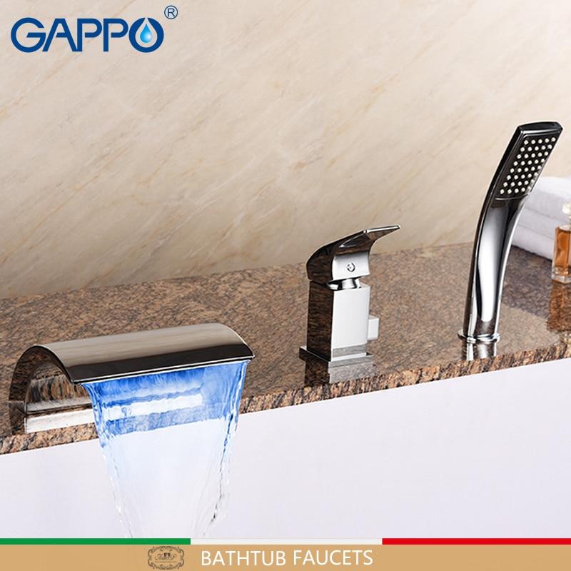 GAPPO Bathtub faucet waterfall bathroom mixer faucet deck mounted shower tap rainfall shower sets stainless bathtub spout